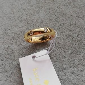 Kate spade gold thin crystal ring size 7